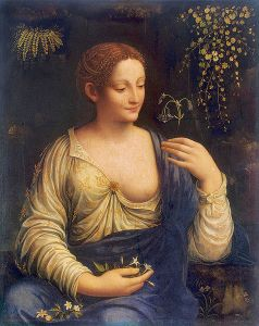 Portrait of a Lady with columbine,Flora