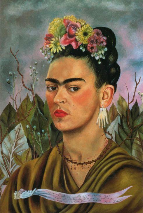 """""""Pinté mi retrato en el año de 1940 para el Doctor Leo Eloesser, mi médico y mi mejor amigo. Con todo mi cariño. Frida Kahlo""""."""