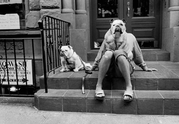 The bulldog lady by Elliott Erwitt