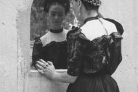 1944, Frida Looking Into Mirror. by Lola Alvarez Bravo