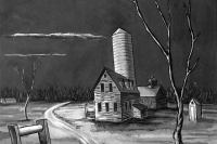 1938, Farm in Moonlight by Daniel Koerner